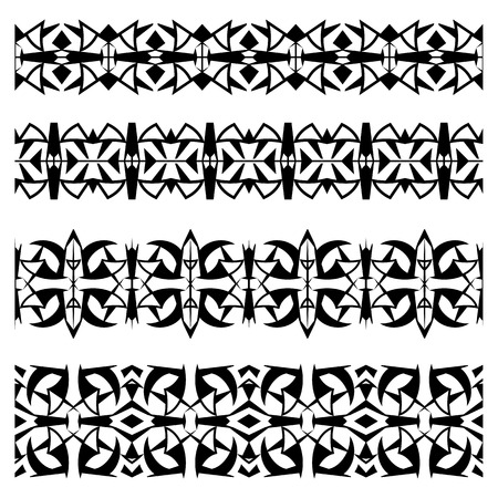 webbing: Abstract black geometrical seamless border patterns set in glyph style