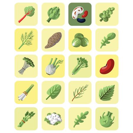 Gemüse und Greens Sammlung Icon-Set Vektorgrafik