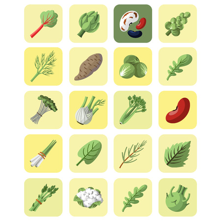 Vegetables and greens collection icon set