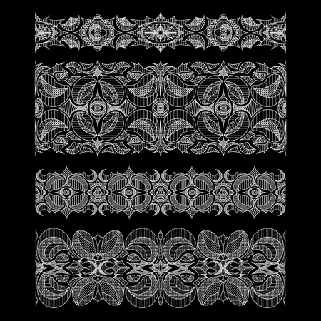 Set of abstract seamless embroidery lace ribbons