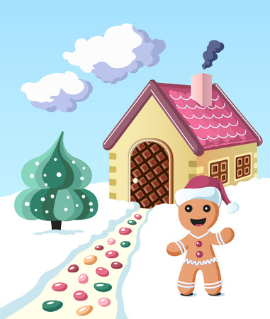 Colorful gingerbread man invintes to come to his house