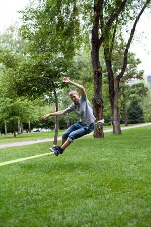 tiptoe: Once in the park slackline