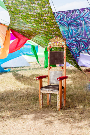 throne on the background of bright draperies 2 Stock Photo - 26007032