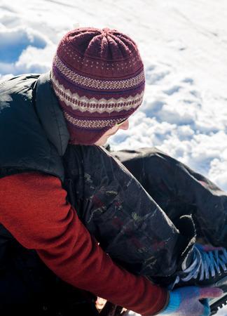 Skating on frozen mountain lake, sun and fun Stock Photo - 26313163