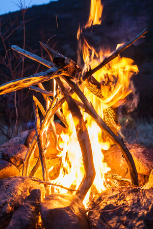 Overnight in tents near a fire Stock Photo - 27106517