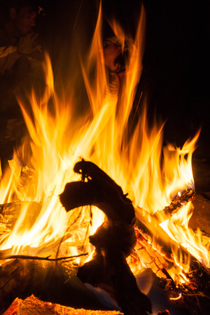 Overnight in tents near a fire Stock Photo - 27106519