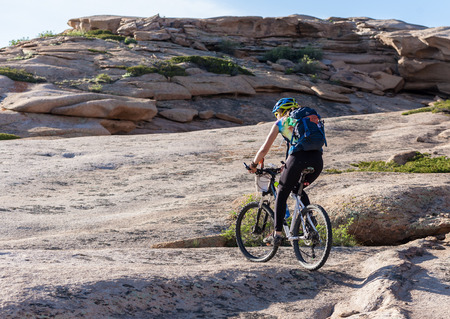 Biking for a wonderful wonderful stone for - unearthly landscapes Stock Photo
