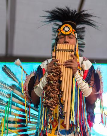 People on ethnic summer festival