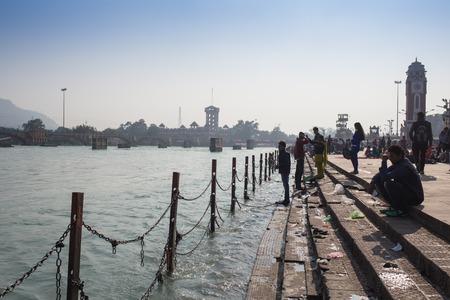 varanasi: A view of  holy ghats of Varanasi with a boatman sailing