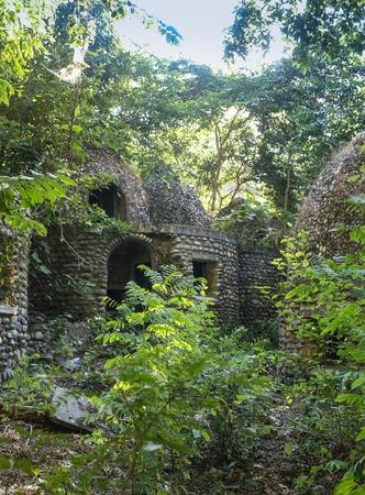 ashram: Ruined temple beatles ashram in Reshikesh, India Stock Photo