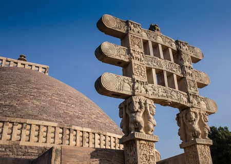 Ancient Great Stupa in Sanchi, in the India