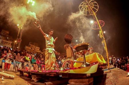 VARANASI, INDIA - Ganges river and Varanasi ghats during Kumbh Mela festival late evening., Varanasi, India