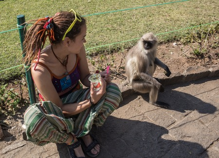 20 something: Girl and monkey in nature looking at each other India