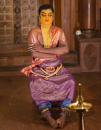 sita: FORT COCHIN, India -  January 10, 2015: Kathakali performer in the virtuous pachcha green role in Cochin on January 10, 2015 in South India. Kathakali is the ancient classical dance form of Kerala.