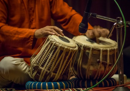 Tabla - An Indian musical instrument, amazing drumming Stock Photo