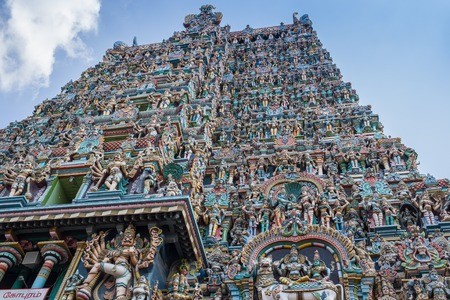 temple tower: Colorful tower of Meenakshi Amman Temple in India Stock Photo