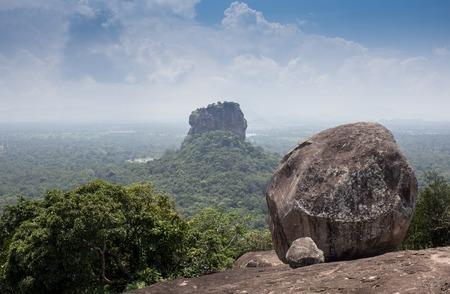 impregnable: Climb the legendary Sigiriya rock, where once stood impregnable city disgraced King Stock Photo