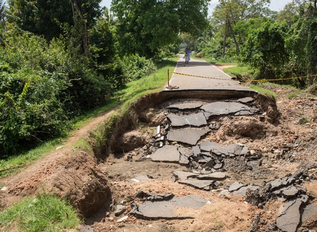 stone road: Asphalt road path collapsed head to  the clouds.