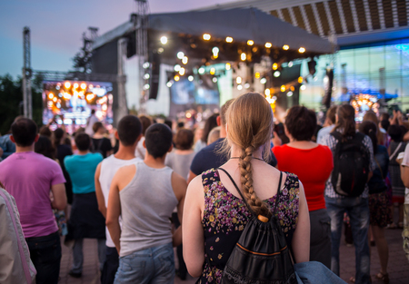 gathers: Cosmos Village, Almaty Province, Kazakhstan - 16 August 2015: The festival of ethnic music Forey, a lot of people gathers on this holiday to relax and have  fun. Editorial
