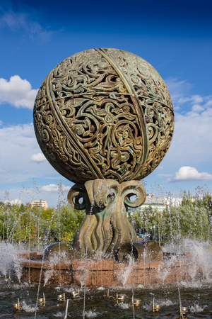 city park fountain: Small Fountain in the city park in Astsana, Kazakhstan