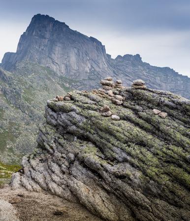 sedimentary: Layers of sedimentary sandstone rock in the Ergaki, Russia