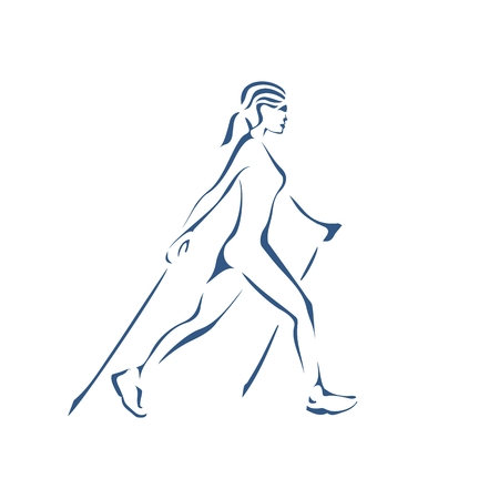 Stylized silhouette of the girl engaged in Nordic  walking Illustration