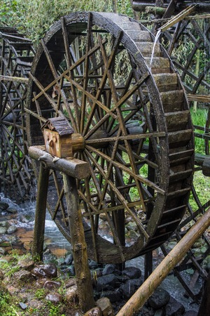 water wheel: water wheel from wood, Black Forest, Germany Stock Photo