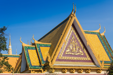 phnom penh: New Golden temple in Phnom Penh Cambodia Stock Photo