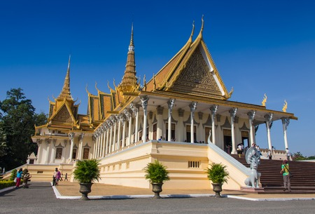 New Golden temple in Phnom Penh Cambodia Stock Photo
