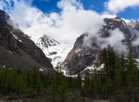 giewont: stormy weather in mountains or Giewont Peak, Tatra Mountains, Poland