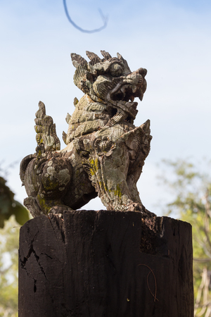Lion guardian in front of a Chinese temple. Stock Photo