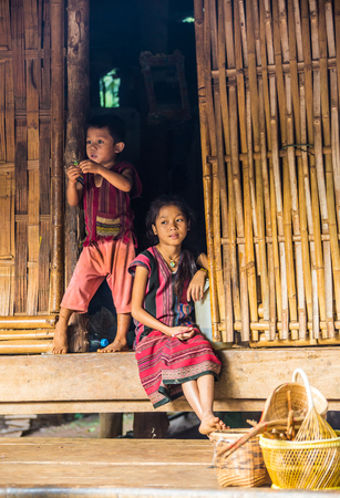 sektor: CHIANG RAI  THAILAND - FEBRUARY 10 2016: Visit ethnic village, near the town of Chiang Rai where the locals live by historical laws, wearing national clothes and engaged in their craft.