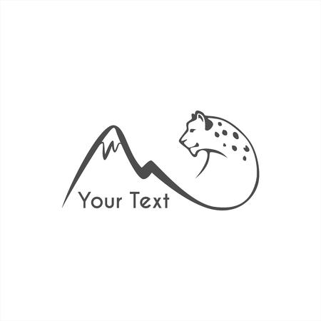 leaping snow leopard logo sign emblem vector illustration Logo