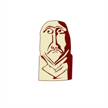 kazakh: Stone idol balbal are scattered on the Kazakh steppe, a monument of the ancient civilization. Illustration