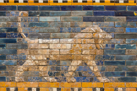 Tiles Pattern of Babylons The Ishtar Gate inside The Pergamon Museum (Pergamonmuseum), Berlin, Germany - 6 Feb 2016: The museum is visited by approximately 1,135,000 people every year.