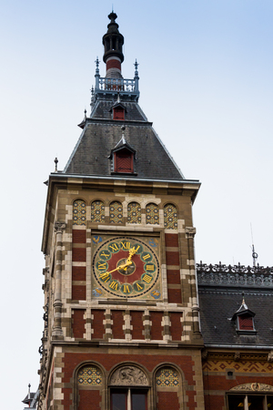 Holland, Amsterdam, view of the Central Railway Station facade.
