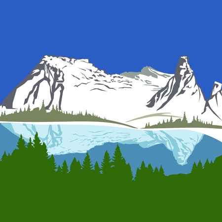 range: Vector view with mountains and forest.