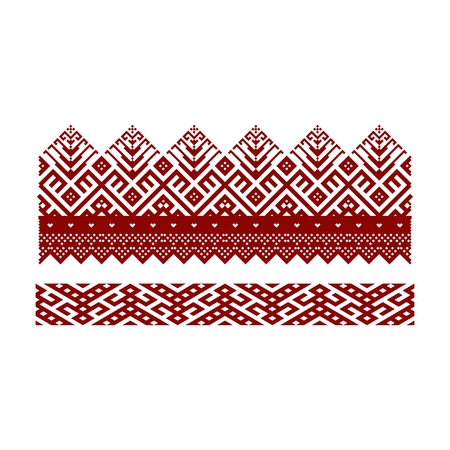 Traditional embroidery. Vector illustration of ethnic seamless ornamental geometric patterns for your design Çizim
