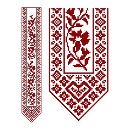 전통적인 자수. 디자인을위한 민족적인 원활한 장식 기하학적 패턴의 벡터 일러스트 레이 션