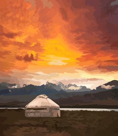 Gezicht op Mongolië. Yurts traditionele Mongoolse woningen in Mongoolse steppe. Bergen op de achtergrond. Reizen schets. Grafische kunst van penselen. Hand getrokken vintage boekillustratie, briefkaart. Vector Stockfoto - 89054480