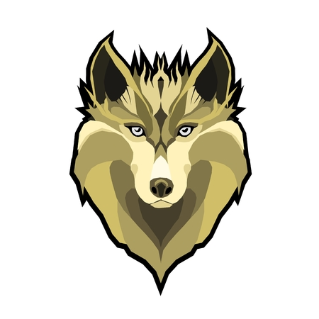 Vector Illustrative Portrait of Wolf. Beautiful gazing face of Red Wolf