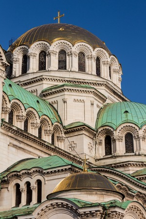 Bulgarian Orthodox cathedral dedicated to Saint Alexander Nevsky, in Sofia. Stock Photo