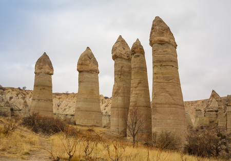 Volcanic rock formations known as Fairy Chimneys in Cappadocia, Turkey.