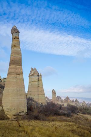 Volcanic rock formations known as Fairy Chimneys in Cappadocia, Turkey.