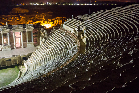Ruins of theater in night time in ancient Hierapolis, now Pamukkale, Turkey Stock Photo