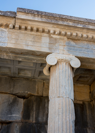 Ionic order, column in ancient Olympia Stock Photo