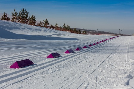 KAZAKHSTAN, ALMATY - FEBRUARY 25, 2018: Amateur cross-country skiing competitions of ARBA ski fest 2018. Participants from all over the republic competed for competitions and compete for medals.