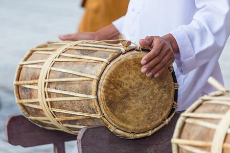 Man drumming in Indian wedding ceremonies, selective focus. Stock Photo