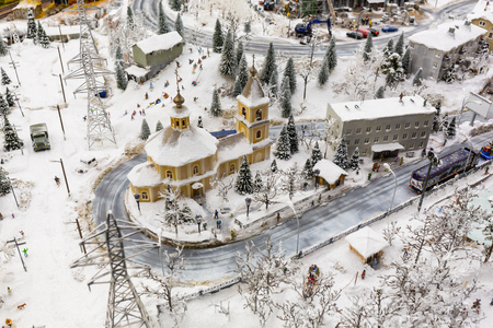 Morning village in wintertime, The Grand-Mock Museum is the city of St. Petersburg. Stock Photo