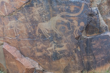 the ancients Petroglyphs in Tamgaly Tash in Kazakhstan Archivio Fotografico - 116175949